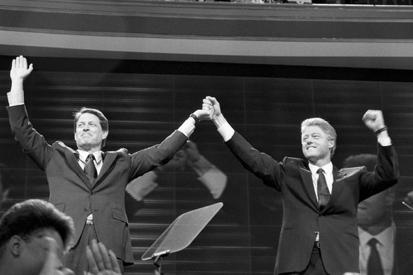Al Gore and Bill Clinton, 1992 (photo: Michelle V. Agins/NYT)
