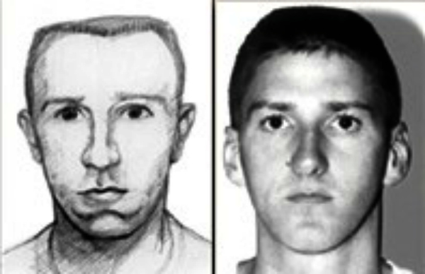 Sketch of Oklahoma City bombing suspect with Tim McVeigh.
