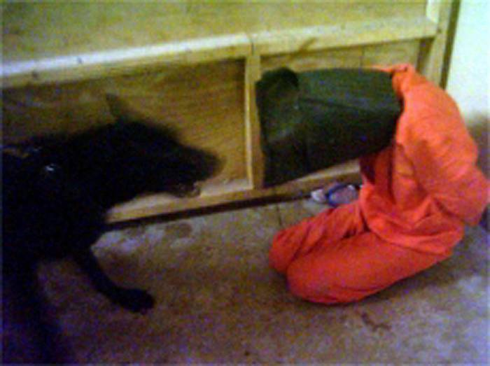US prisoner threatened by dog at Abu Ghraib