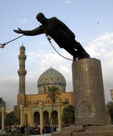 Saddam Hussein statue toppled at Firdos Square.