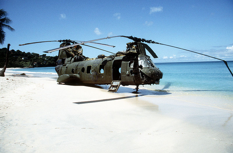 Marine helicopter forced down on Grenada beach (DoD/Wikimedia)