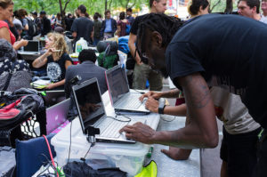 Occupy Wall Street media center (cc photo: Mat McDermott)
