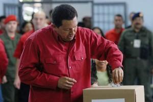 Hugo Chavez casting a vote.2007