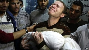 BBC journalist Jihad Masharawi's 11-month-old son Omar died after shrapnel hit the family home in Gaza; the BBC did not devote a story to Masharawi's loss until 10 days later (Photo source: AP)