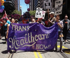 Transgender people and allies fight for healthcare for everyone, not just university students. (photo crediit: Liz Highleyman)