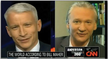 "CNN's Anderson Cooper wonders why we can't make fun of Islam; HBO's Bill Maher explains it is because Muslims are ""violent"" and ""threaten us."""