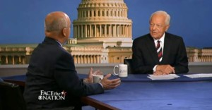 Bob Schieffer (right) interviews former NSA chief Michael Hayden.