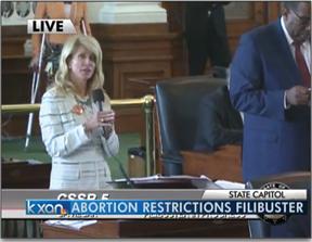 Wendy Davis filibustering Texas anti-choice bill.