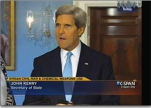 John Kerry presenting his speech