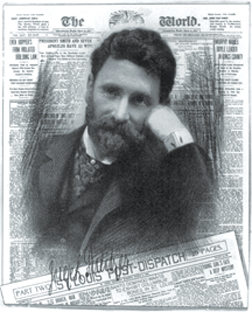 Joseph Pulitzer with copies of his newspapers