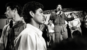 Daniel Ortega at a 1990 campaign rally (cc photo: Robert Croma)