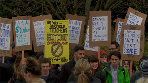 Students boycotting standardized testing at Garfield High School in Washington state.