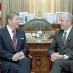 Ronald Reagan and Mikhail Gorbachev meeting in the Oval Office during the December 1987 summit.