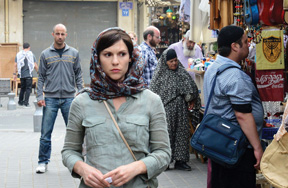 Homeland's Carrie Mathison (Claire Danes) under cover in Beirut - though the scene was actually shot in Tel Aviv.
