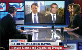 ABC's This Week with George Stephanopoulos, North Carolina Gov. Pat McCrory, L. A. Mayor Eric Garcetti, ABC business correspondent Rebecca Jarvis and Climate Central climatologist Dr. Heidi Cullen.