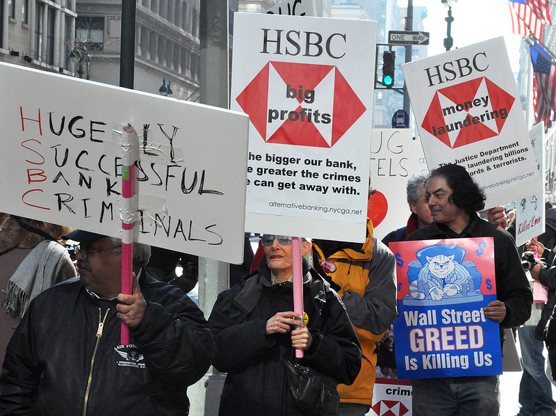 protesters against HSBC