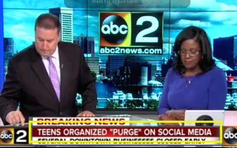 "Baltimore's WMAR reporting on the supposed ""purge"""