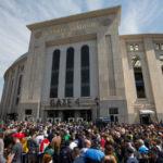 Crowds outside Yankee stadium (NYT photo: Ruth Fremson)