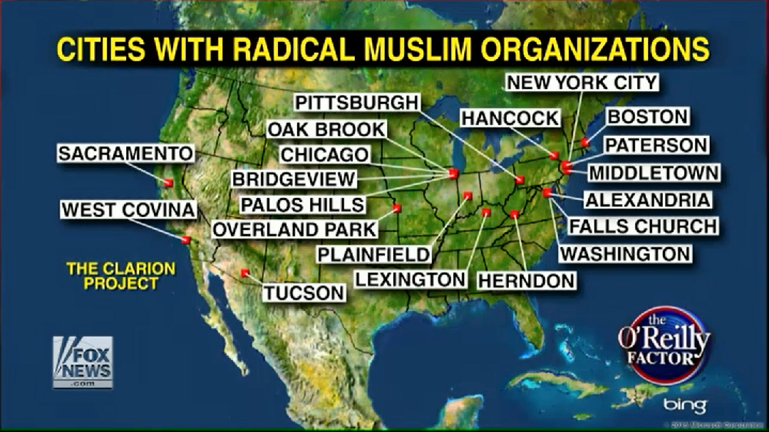 "O'Reilly Factor: ""cities with radical Muslim organizations"""