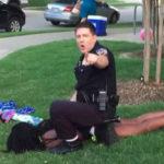 Police officer Eric Casebolt pinning a 15-year-old girl (video still: Brandon Brooks)
