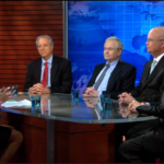 PBS Newshour's Judy Woodruff and four commentators: James Woolsey, Dennis Ross, Sandy Berger and Michael Hayden.