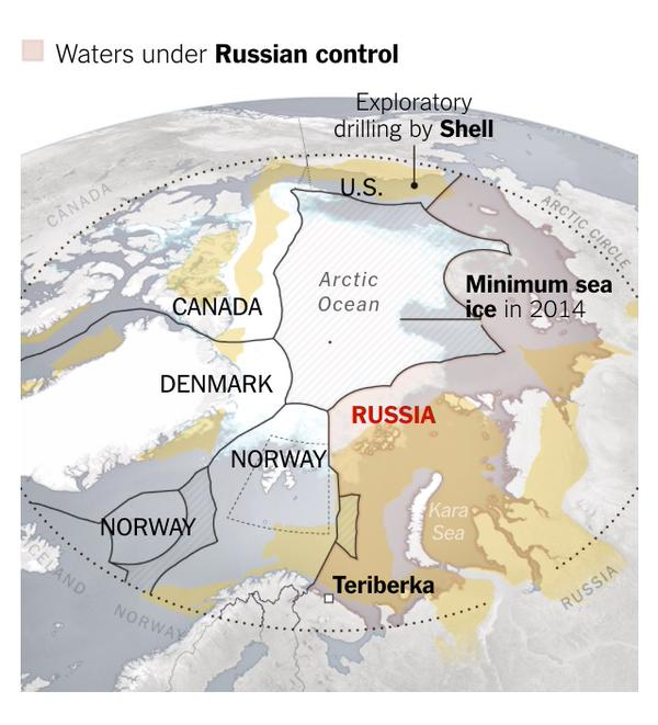 New York Times labels make US, USSR seem to have equal claims on the Arctic Ocean.