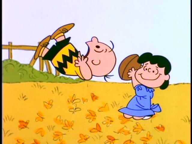 Yep, Lucy yanked the ball away from Charlie Brown this time, too.