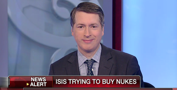 "National Review's Rich Lowry appears above Fox News' false claim that ""ISIS trying to buy nukes."""