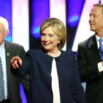 Bernie Sanders, Hillary Clinton and Martin O'Malley at Democratic debate (image: CNN)