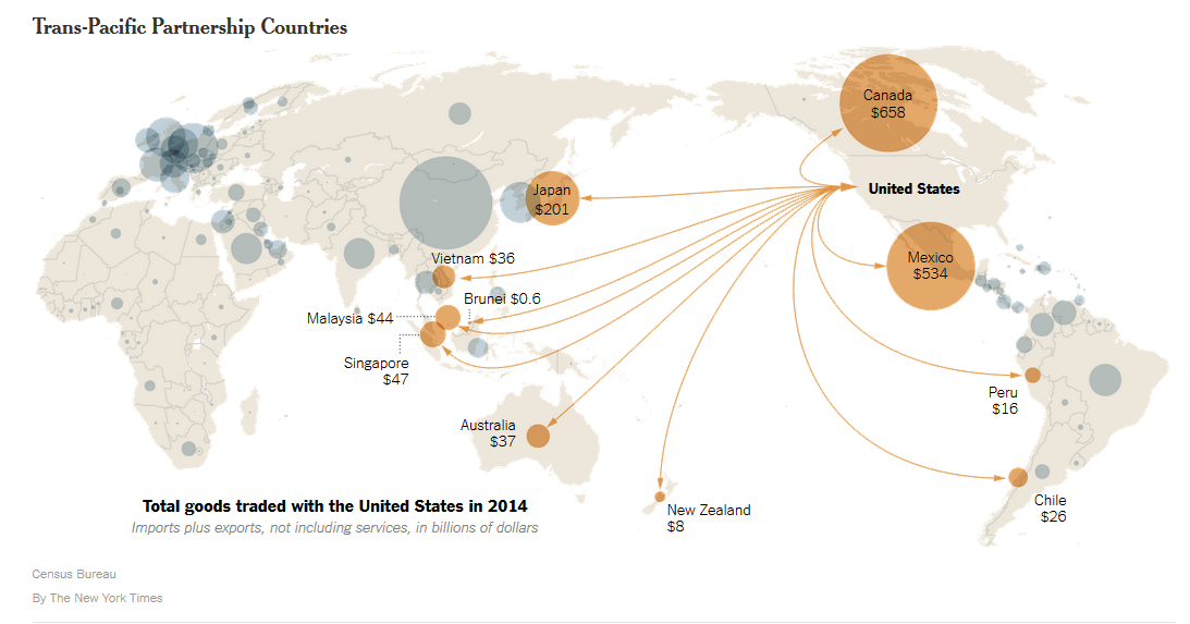 The New York Times' depiction of Trans-Pacific Partnership countries.