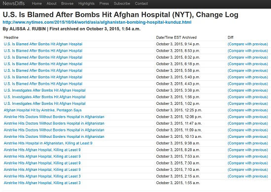 newsdiffs nyt us bombs afghan hospital