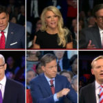 Debate moderators. First row: Bret Baier (Fox), Megyn Kelly (Fox), Chris Wallace (Fox); second row: Anderson Cooper (CNN), Jake Tapper (CNN), John Dickerson (CBS)