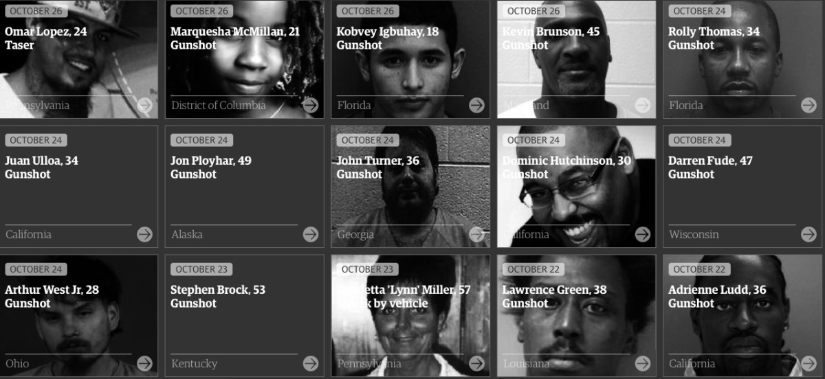 The Guardian's display of victims of police violence as a collection of individuals.
