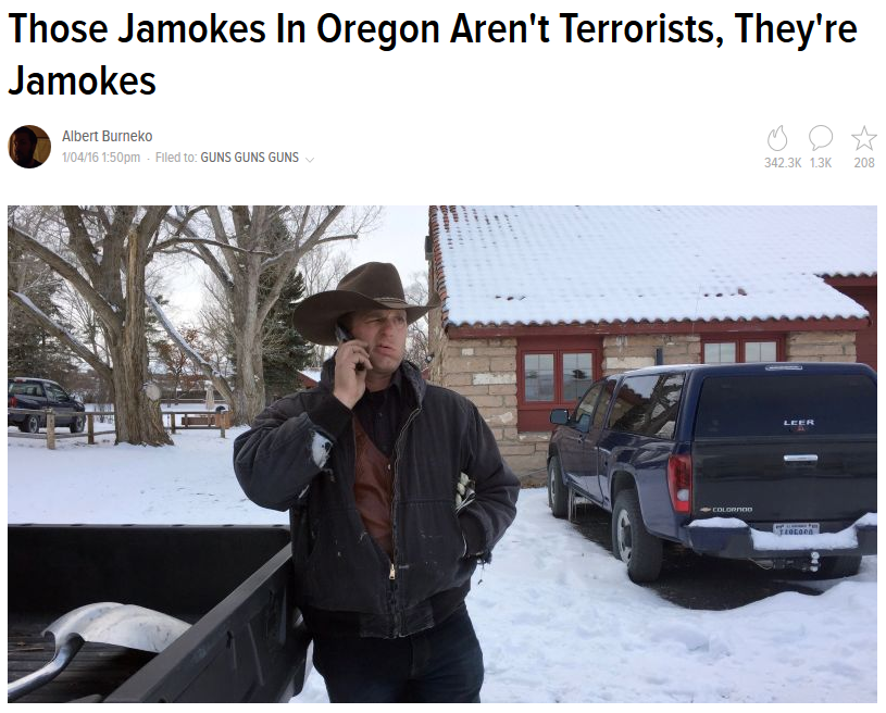 Deadspin: Those Jamokes in Oregon Aren't Terrorists, They're Jamokes