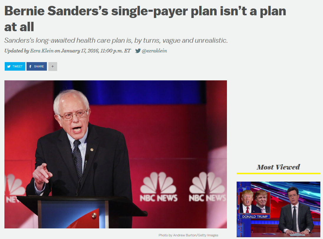 Vox: Bernie Sanders's single-payer plan isn't a plan at all