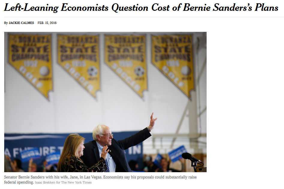 NYT: Left-Leaning Economists Question Cost of Bernie Sanders's Plans (photo: Isaac Brekken/NYT)