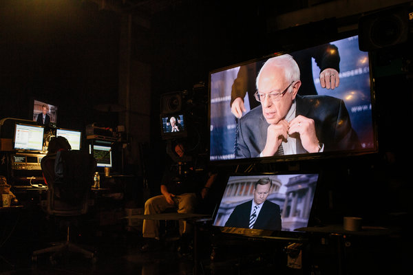Sanders appearing on Face the Nation (photo: Lexey Swall/NYT)