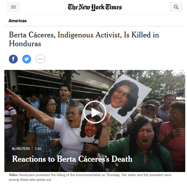 New York Times: Berta Cáceres, Indigenous Activist, Is Killed in Honduras