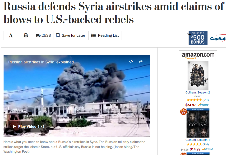 WaPo: Russia Defends Syria Airstrikes
